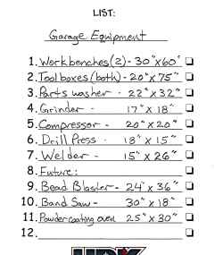 Garage Workshop Plans Equipment List