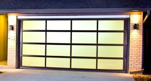glass garage door at night