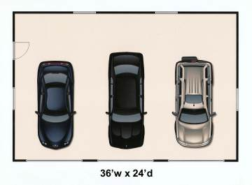 36 x 24 three car garage plans