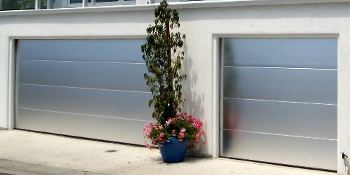 brushed aluminum garage doors